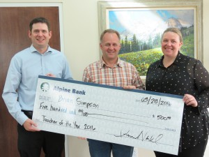 Tyler Dahl, Alpine Bank; Brian Simpson, Montrose High School; Allison Nadel, Alpine Bank